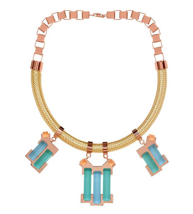 купите комбинированное колье от итальянского бренда Giuliana Mancinelli - Mint necklace with braided cord