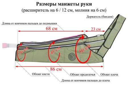 Размеры манжеты руки с расширителем на 12 см (молния на 6 см)