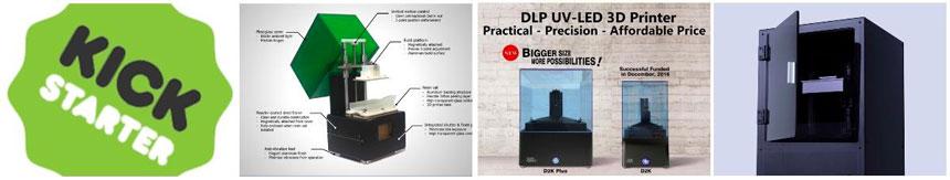проекты sla и dlp 3d принтеров на kickstarter