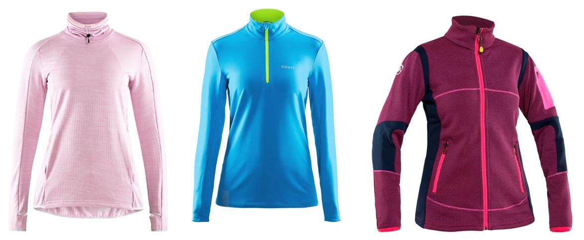 На фото – женские флисовые толстовки для беговых лыж