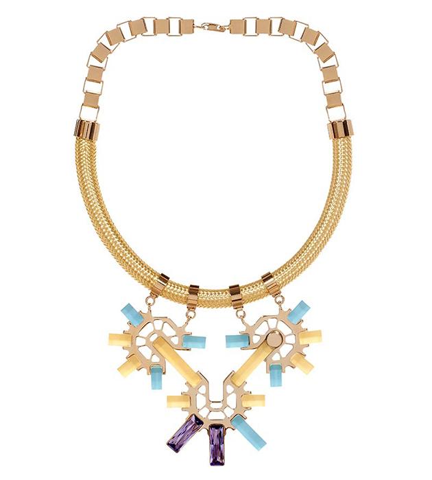 колье из позолоченной латуни от итальянского бренда Giuliana Mancinelli - Green Gold necklace with purple crystal