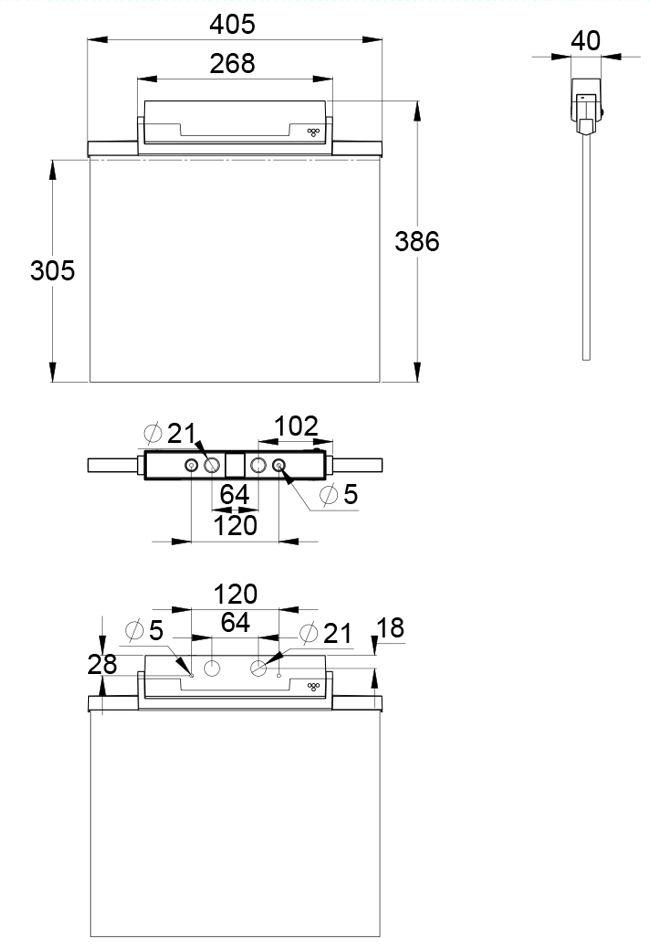 Монтажные размеры для светильника эвакуационного выхода IP44 ESC-81