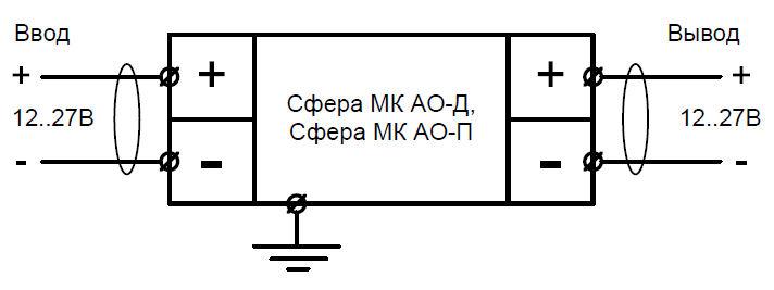 Схема подключения взрывозащищенного светильника аварийного освещения Сфера МК АО 12-27V DC