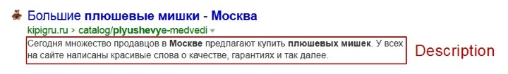 Description в сниппете Яндекс