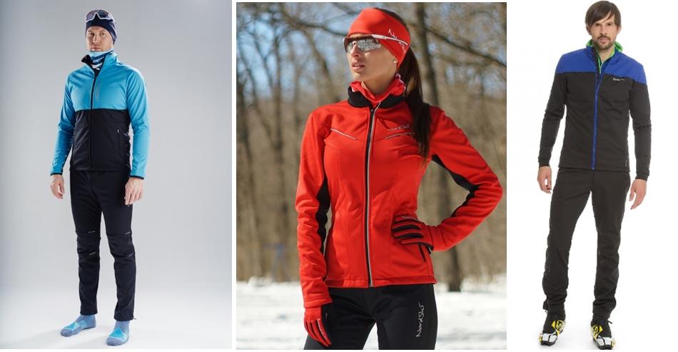 На фото – разминочные костюмы для бега на лыжах