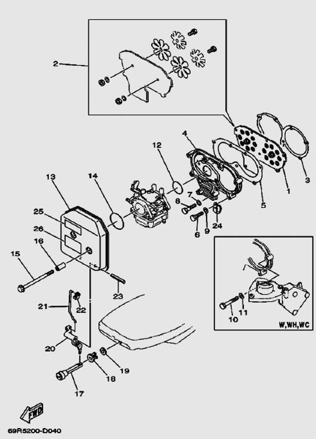 Запчасти выхлопной системы для лодочного мотора T30 Sea-PRO