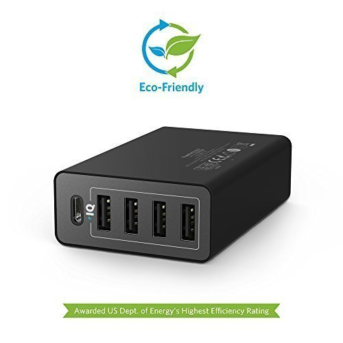Зарядное устройство на 5 портов Anker 40W 5-Port USB/USB-C Wall Charger PowerPort 5 USB-C (Black)