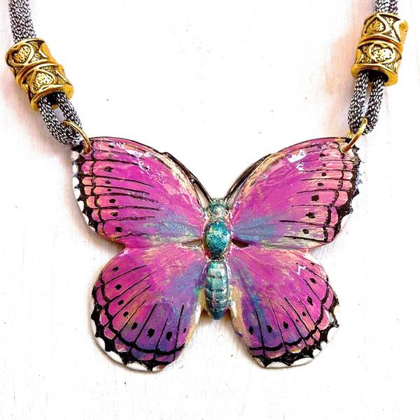 Купите женскую подвеску-Бабочку с эмалью - фото