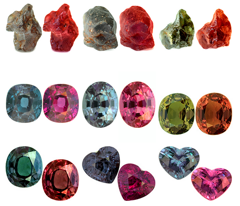 мадагаскарские гранаты с эффектом смены цвета