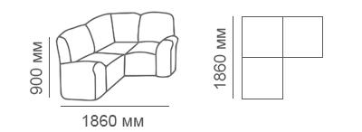Габаритные размеры углового дивана Сиеста 1с1