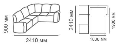 Габаритные размеры углового дивана Сиеста 2с2