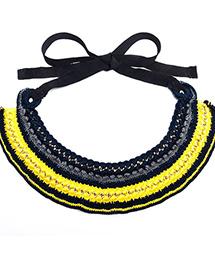 Сине-жёлтое колье на лентах Paloma от Papiroga