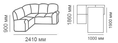 Габаритные размеры углового дивана Сиеста 1с2