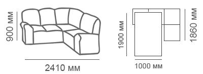 Габаритные размеры углового дивана Сиеста 2с1