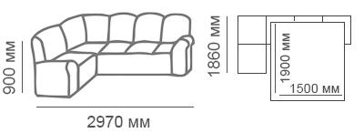 Габаритные размеры углового дивана Сиеста 1с3