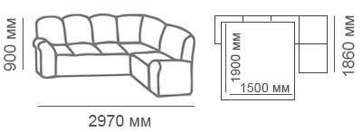 Габаритные размеры углового дивана Сиеста 3с1