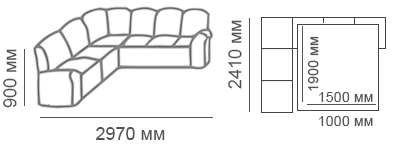 Габаритные размеры углового дивана Сиеста 2с3