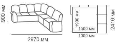 Габаритные размеры углового дивана Сиеста 3с2