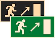 знаки фотолюминесцентные эвакуационные Е05 Направление к эвакуационному выходу направо вверх