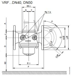 Размеры клапана Siemens VRF10.654