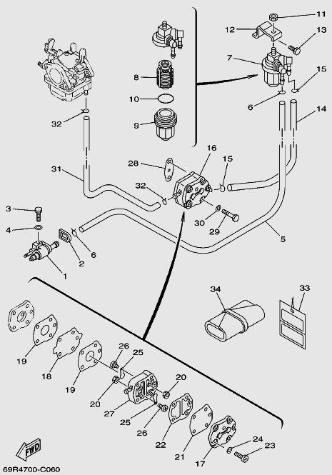Запчасти топливной системы для лодочного мотора T30 Sea-PRO