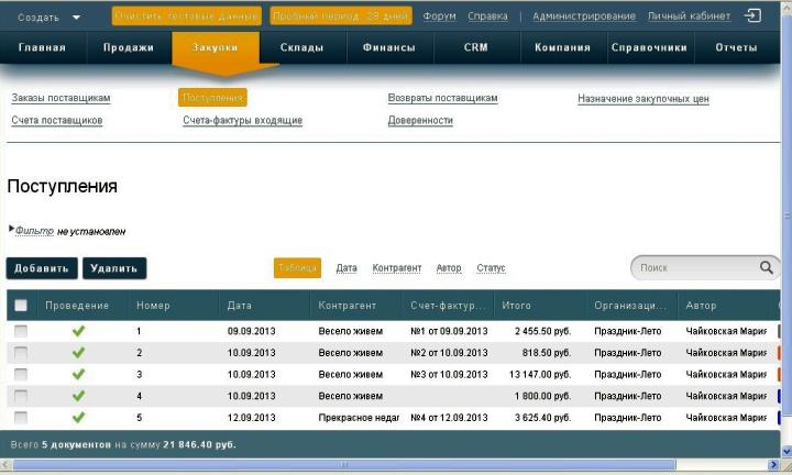 Реестр поступлений в разрезе документов в программе Класс365