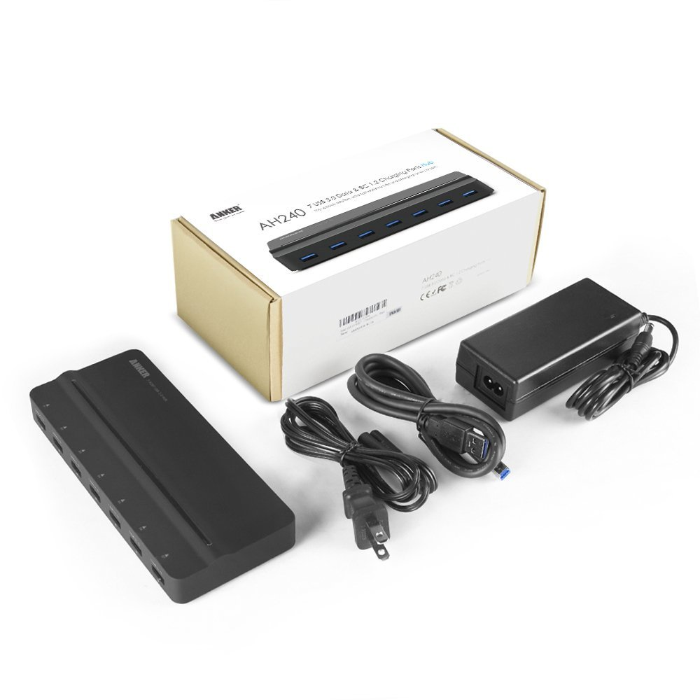 Anker AH240 SuperSpeed Charger and Data Transfer Hub with 7 USB 3.0 Ports, Including a 12V / 5A