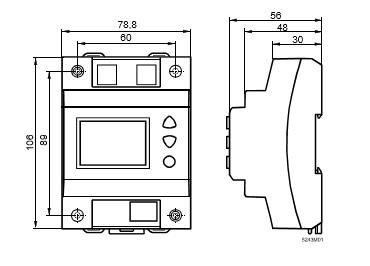 Размеры цифрового таймера Siemens SEH62.1