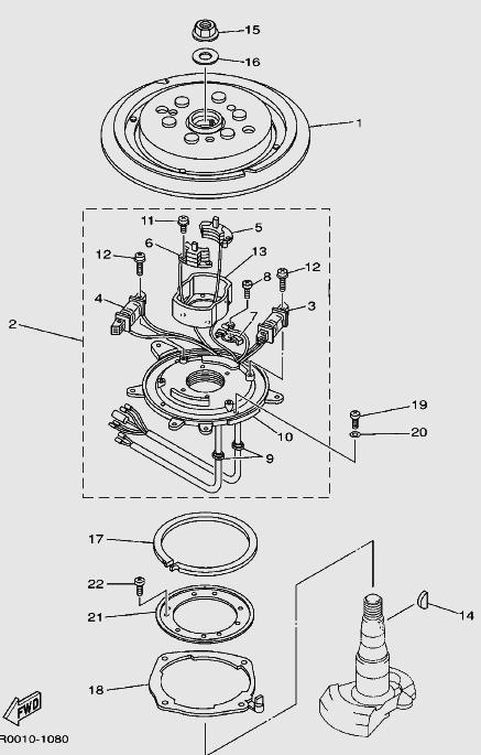 Запчасти генератора для лодочного мотора T30 Sea-PRO