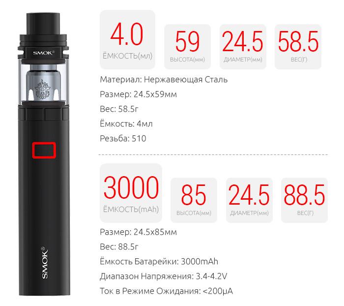 Спецификация SMOK Stick X8 Kit
