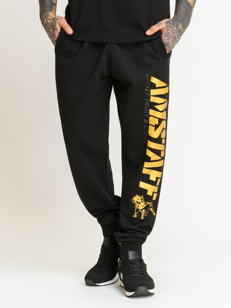Утепленный спортивный костюм для мужчин и мальчиков подростков черного цвета с золотистым рисунком Амстафф Bartok gold