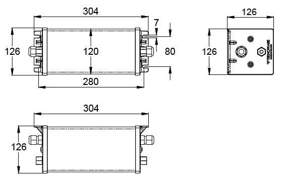 Монтажные размеры для аварийных светильников IP67 ROBUST-86 Teknoware