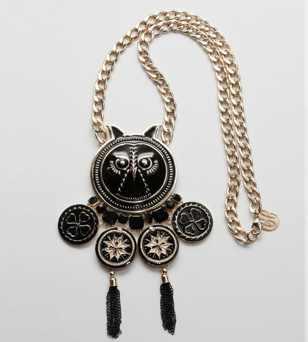Купите крупную подвеску сова с эмалью и черными кристаллами Gonzalo Cutrina фото