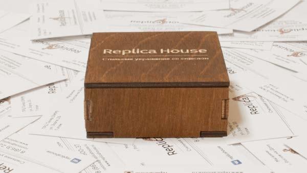Упаковка из фанерного листа с гравировкой Replica House