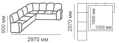 Габаритные размеры углового дивана 3с3