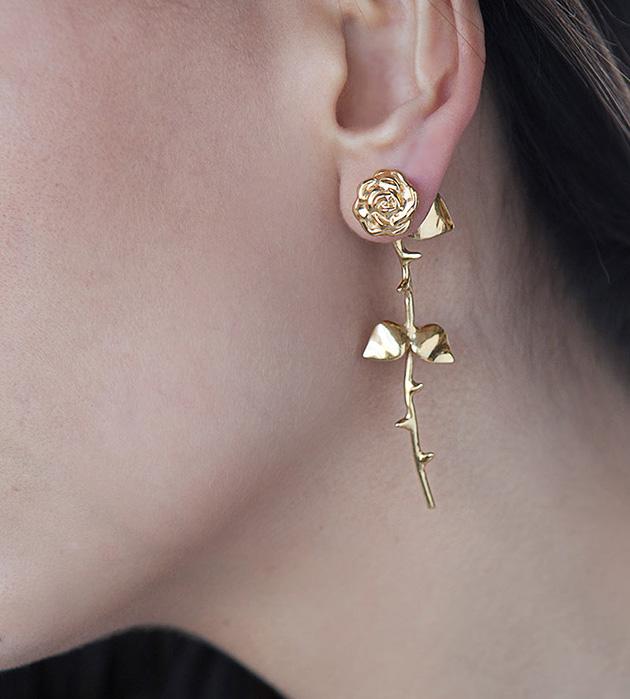 золотистые cерьги ручной работы Marina`s Roses Golden от SMITH GREY