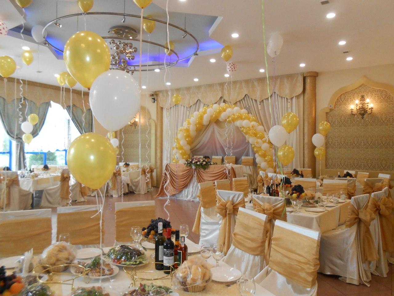 Украшения зала на золотую свадьбу 78