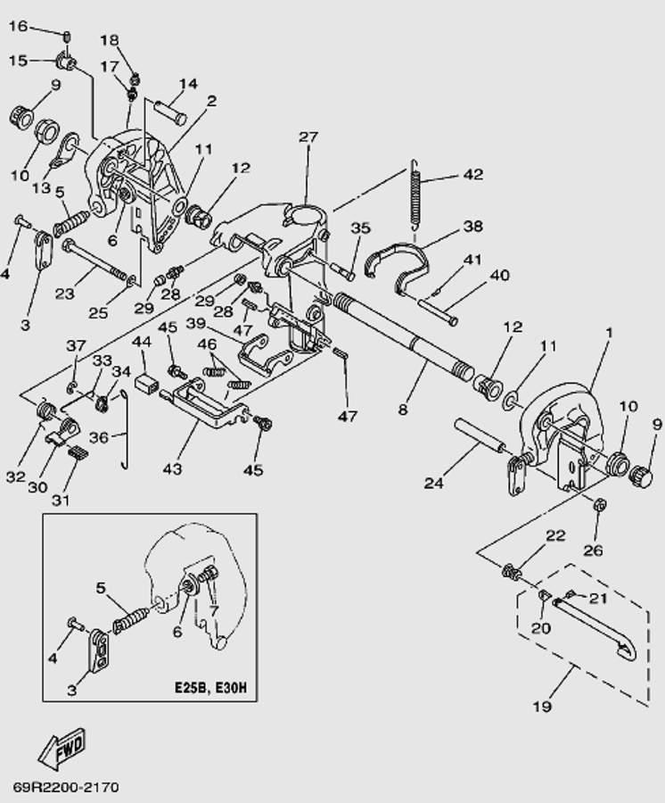 Запчастикронштейна ч.1 для лодочного мотора T30 Sea-PRO