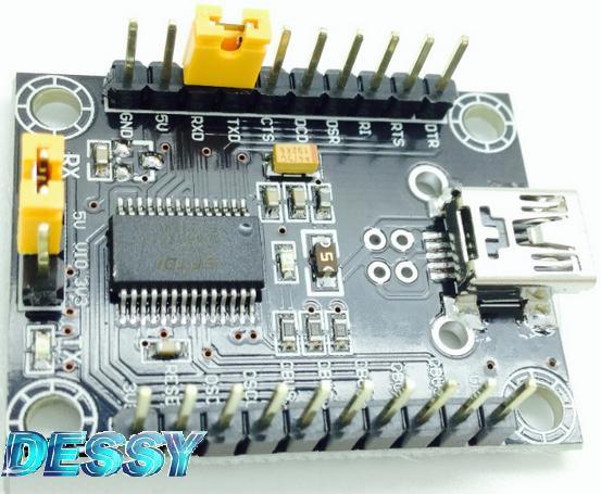 Модуль RC018. Модуль преобразователя интерфейсов miniUSB в TTL на базе микросхемы FT232RL с косплектом проводов