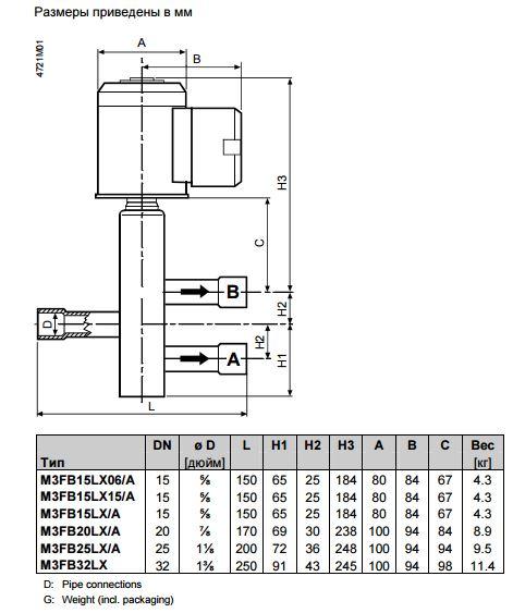 Размеры магнитного клапана Siemens M3FB20LX/A