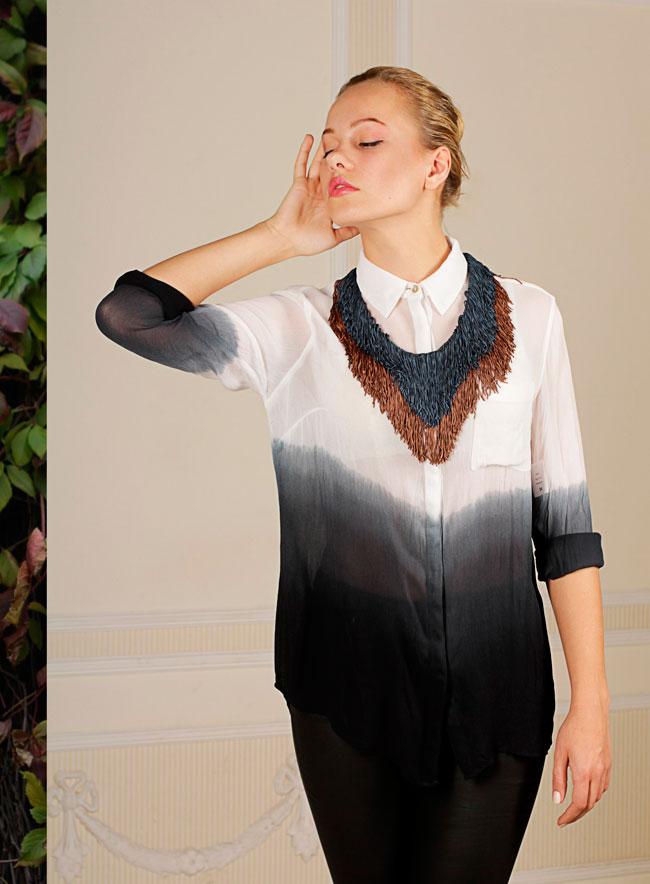 купить массивное текстильное колье-ожерелье на ленте Papiroga фото