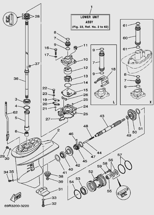 Запчасти редуктора для лодочного мотора T30 Sea-PRO