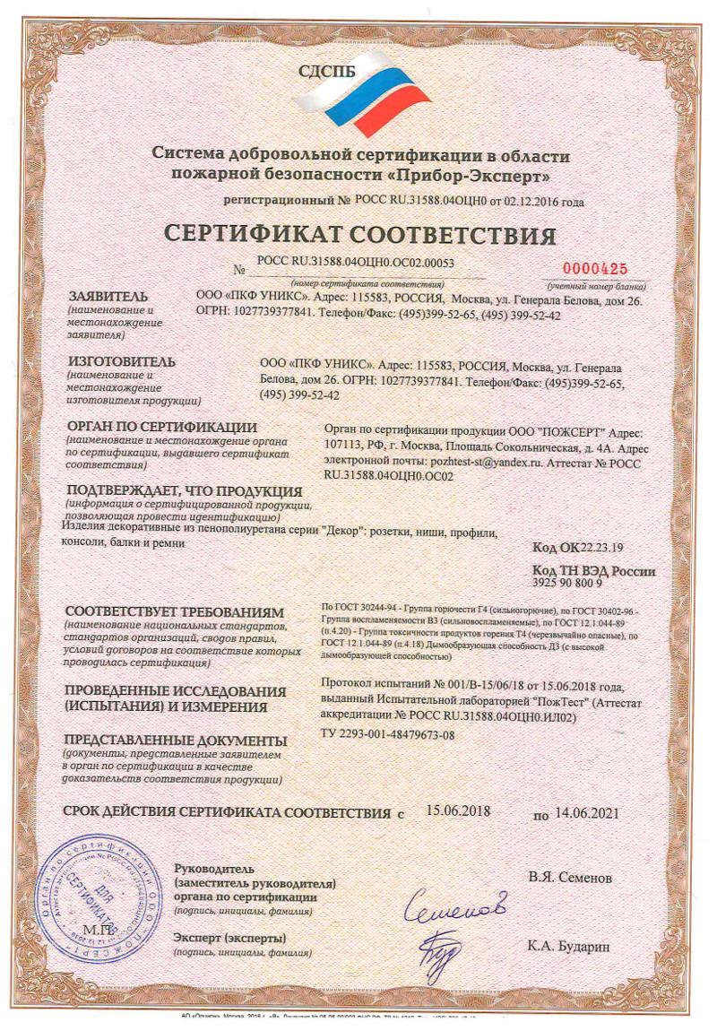 Сертификат соответствия пожарным нормам_УНИКС