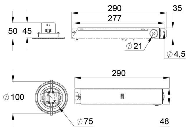 Монтажные размеры светодиодных светильников аварийного освещения LINESPOT II – адресные централизованного типа