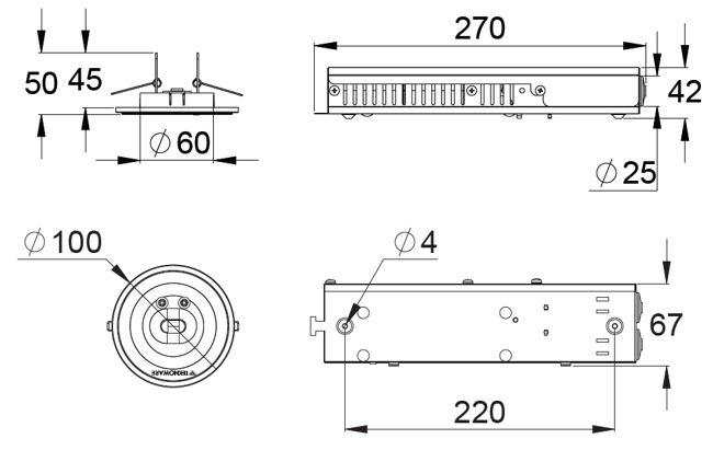Монтажные размеры светодиодных светильников аварийного освещения LINESPOT II - автономные на аккумуляторных батареях