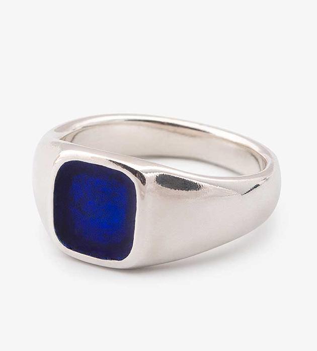 купите кольцо-печатка из серебра oт Helena Rohner - Square Enamel signet ring