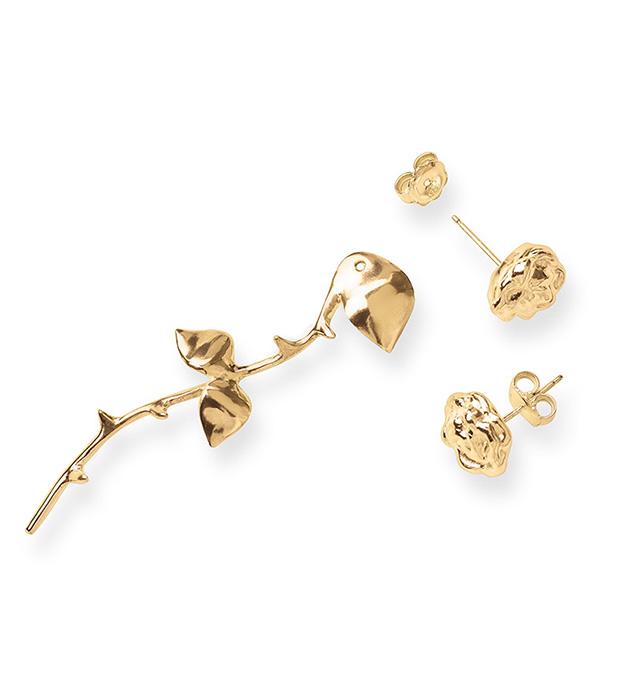 купите серьги-трансформеры из позолоченного серебра Marina`s Roses Gold&Black earrings от SMITHGREY
