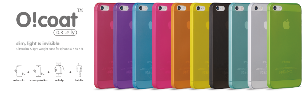 Оригинальные, ультратнокие накладки Ozaki O!coat 0.3 Jelly для iPhone 5/ 5S / SE.