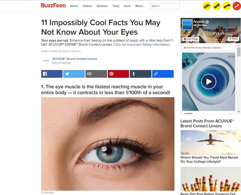 Нативная реклама от Acuvue на портале Buzzfeed