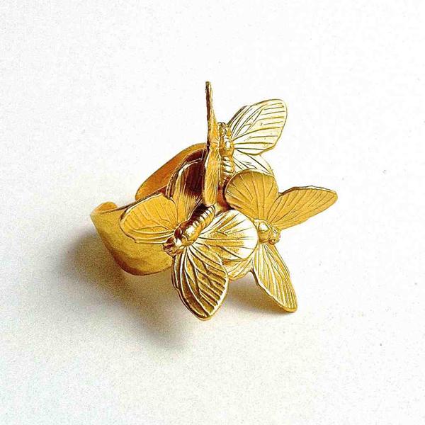 Безразмерное кольцо с бабочками от испанского дизайнера